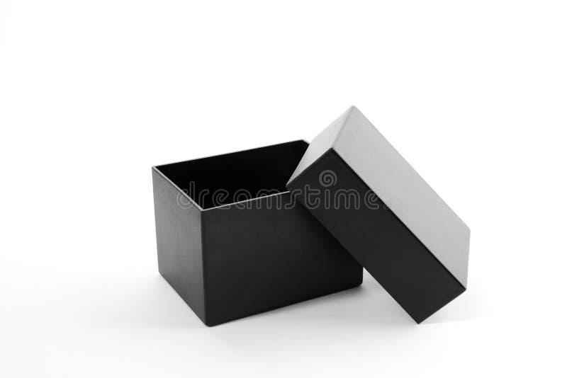 Abra a caixa de presente preta fotografia de stock royalty free