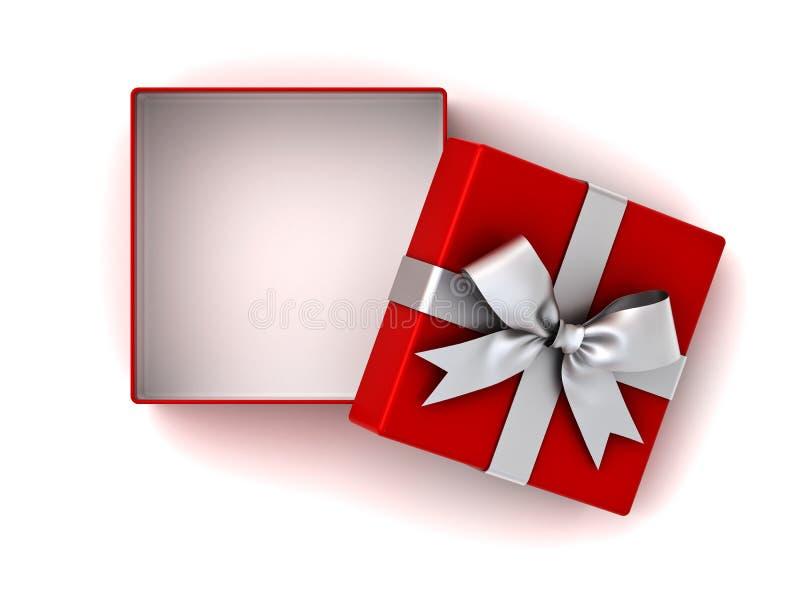 Abra a caixa de presente vermelha ou a caixa atual com curva de prata da fita e o espaço vazio na caixa isolada no fundo branco ilustração do vetor