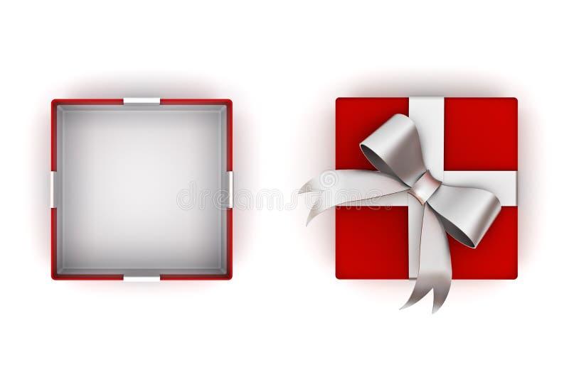 Abra a caixa de presente vermelha ou a caixa atual com curva de prata da fita e o espaço vazio na caixa isolada no fundo branco c ilustração do vetor