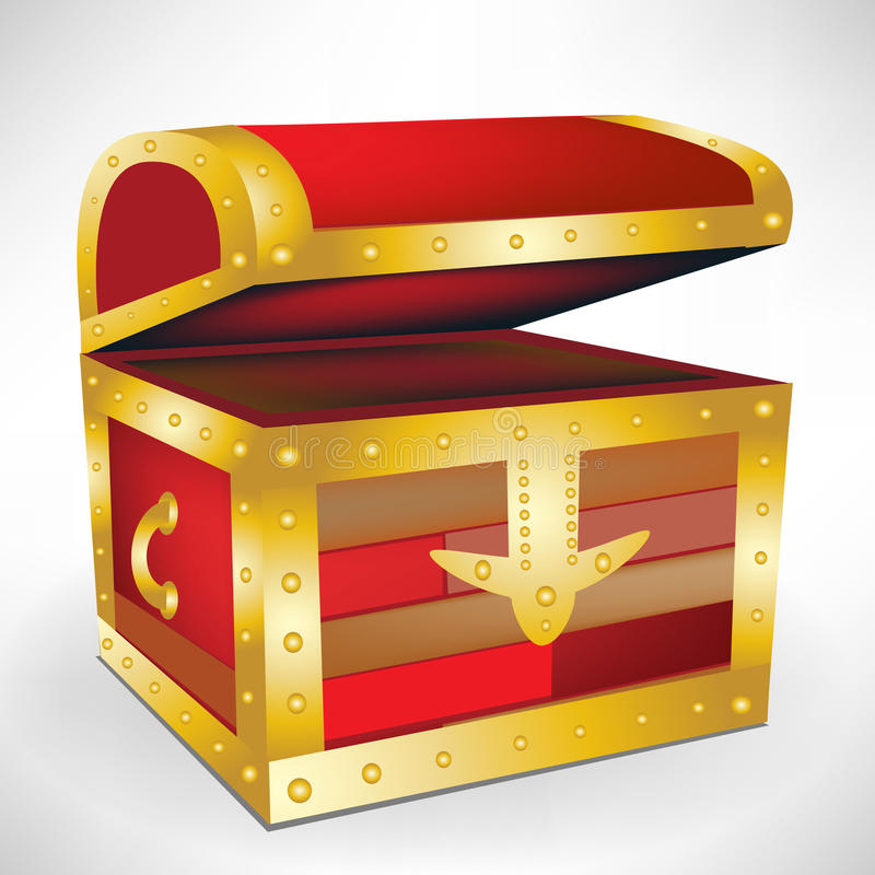 Abra a caixa de tesouro vazia ilustração stock