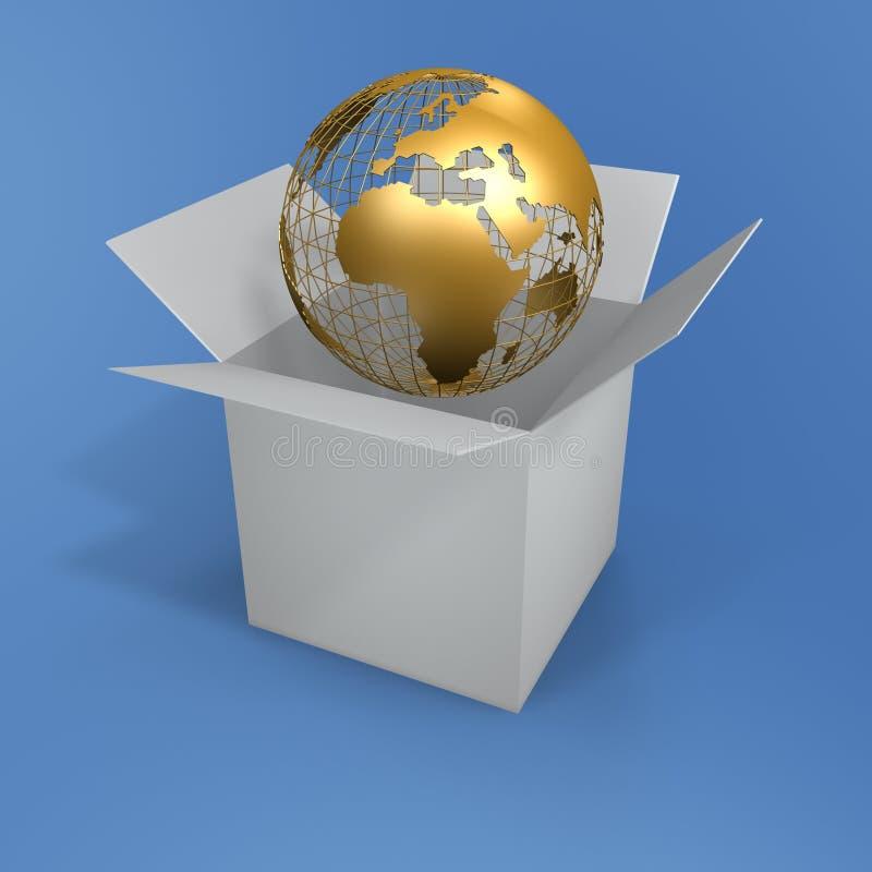 Abra a caixa e o globo ilustração royalty free