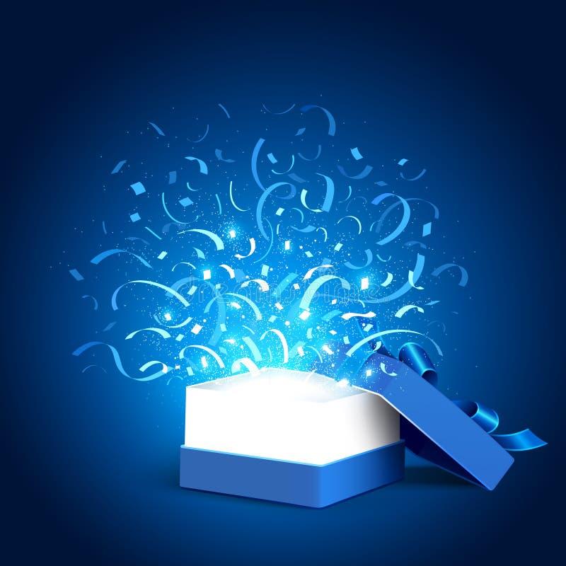 Abra a caixa e os confetes do feriado ilustração royalty free