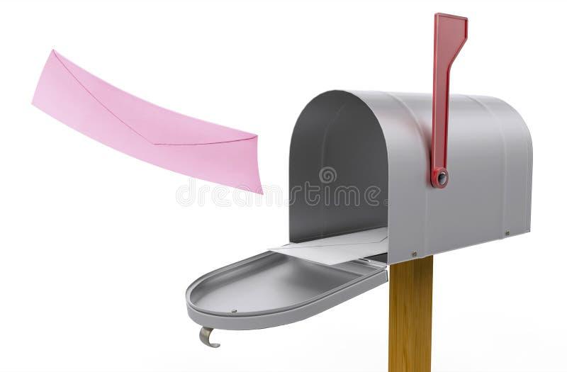 Abra a caixa postal e o envelope recebido do vermelho da mosca ilustração stock