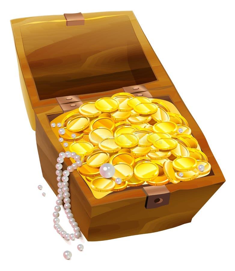 Abra a caixa velha com moedas e pérolas de ouro Pirateie a caixa de tesouro ilustração do vetor