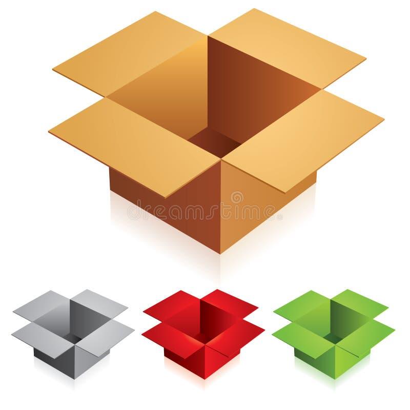 Abra caixas de cartão da cor ilustração stock