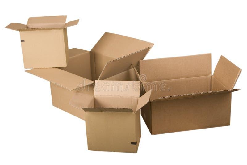 Abra caixas de cartão marrons fotos de stock