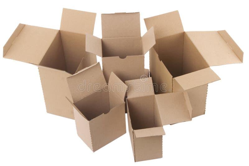 Abra caixas de cartão marrons fotografia de stock royalty free