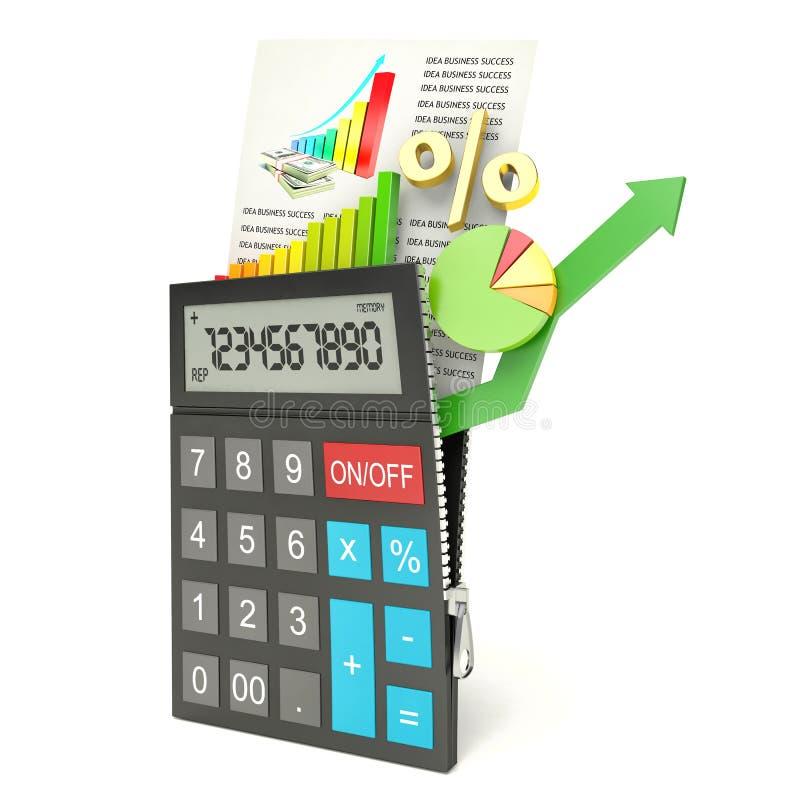 Abra a calculadora, fundo branco, 3d ilustração stock