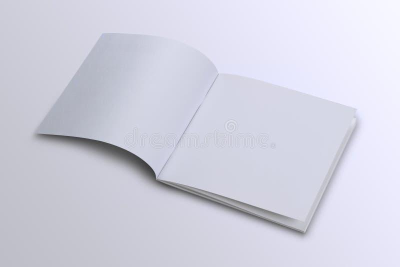 Abra a capa de revista vazia branca do folheto para a zombaria acima foto de stock