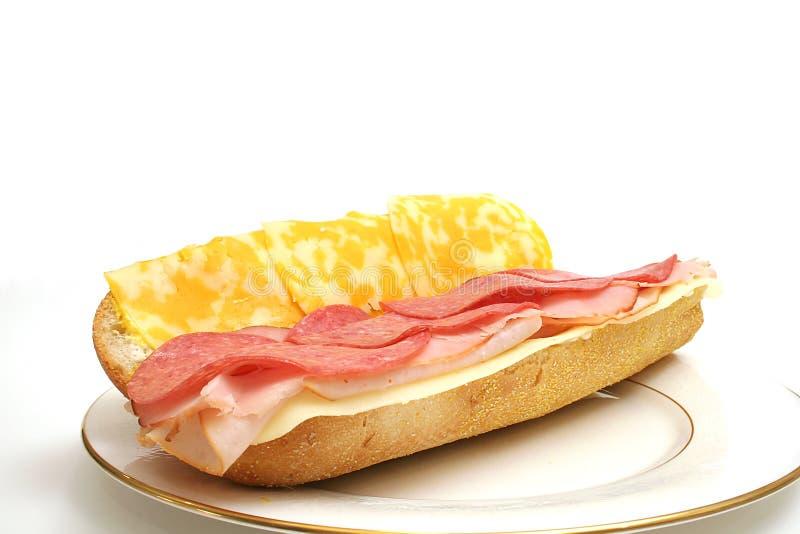 Abra a carne & o queijo na placa foto de stock royalty free