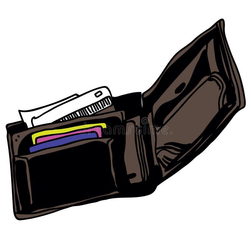 Abra a carteira ilustração royalty free