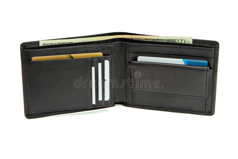 Abra a carteira com cartões e dólares foto de stock royalty free
