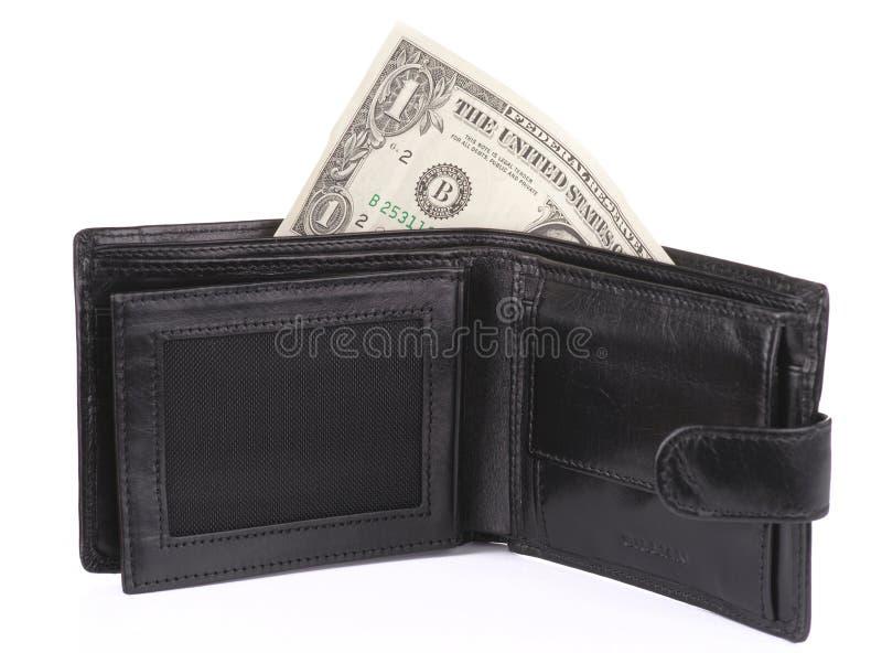 Abra a carteira com um dólar imagem de stock royalty free