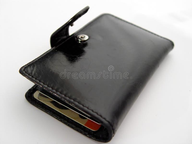 Abra a carteira preta imagem de stock royalty free