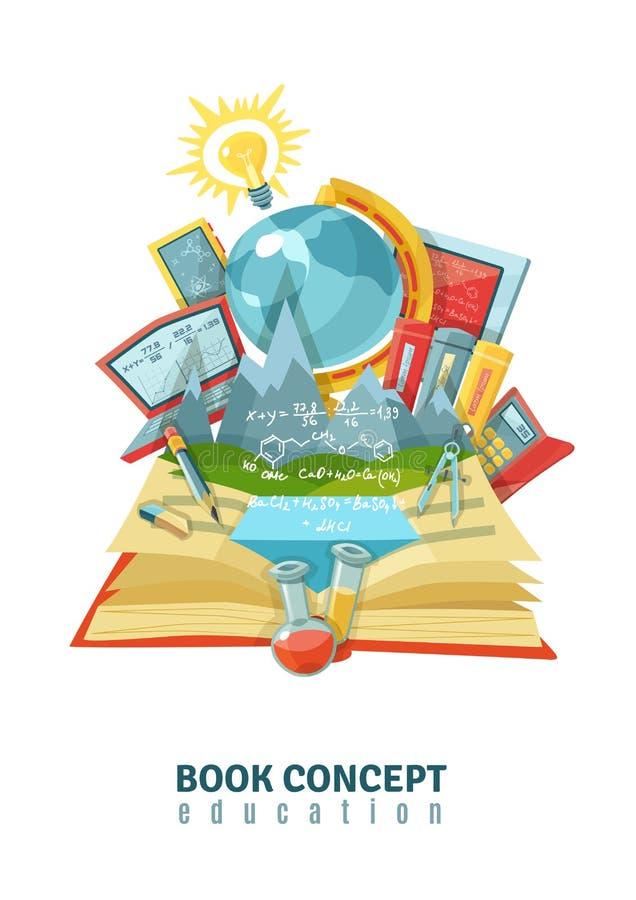 Abra a composição do sumário do conceito da educação do livro ilustração royalty free
