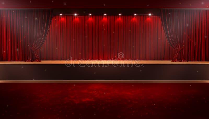 Abra a cortina vermelha ilustração royalty free