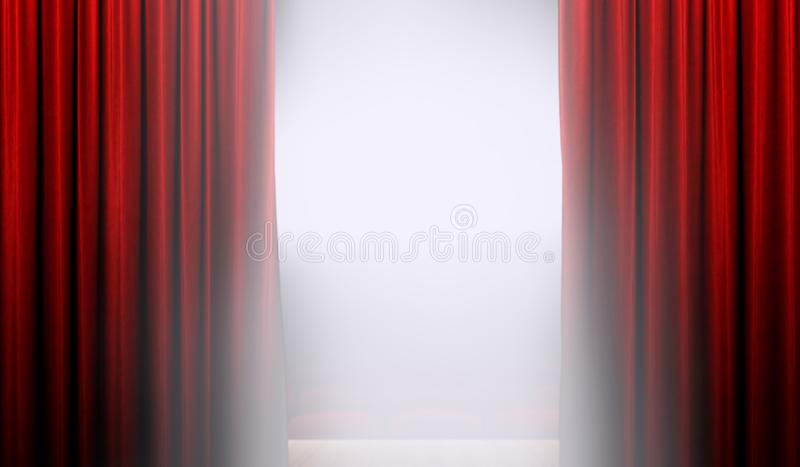 Abra a cortina vermelha na fase com projetor ilustração royalty free