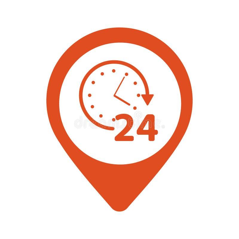 Abra dia-e-noite ou 24 horas um o dia e 7 dias por semana o símbolo no ícone do pino do mapa isolou-se no fundo branco Vetor ilustração stock