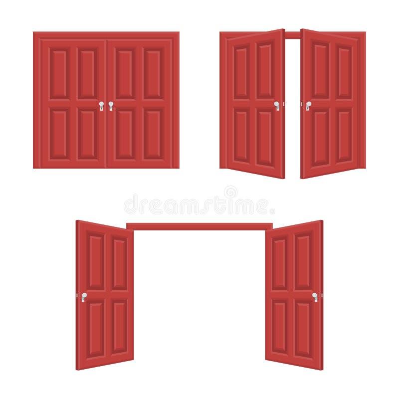 Abra e porta próxima ilustração royalty free