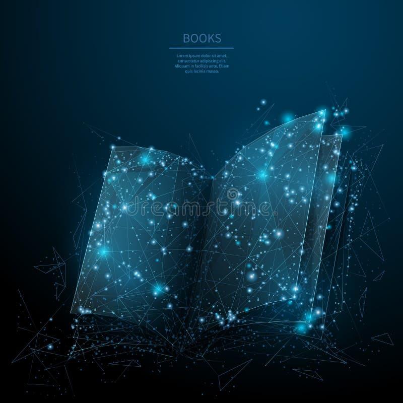 Abra el azul polivin?lico del libro bajo stock de ilustración