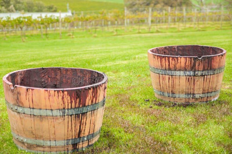 Abra el barril Pinot para la elaboración de vino natural en un viñedo de Australia fotos de archivo libres de regalías