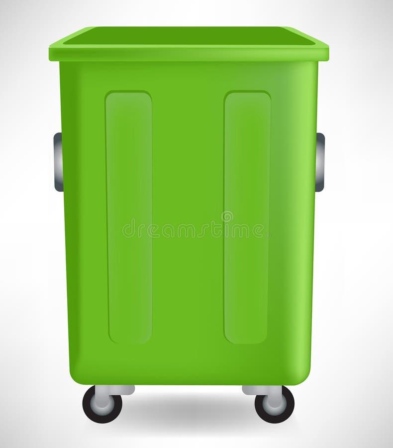 Abra el bote de basura abierto del verde stock de ilustración