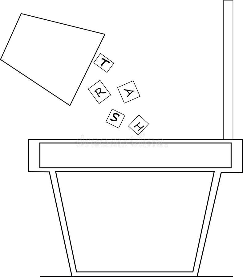 Abra el bote de basura stock de ilustración