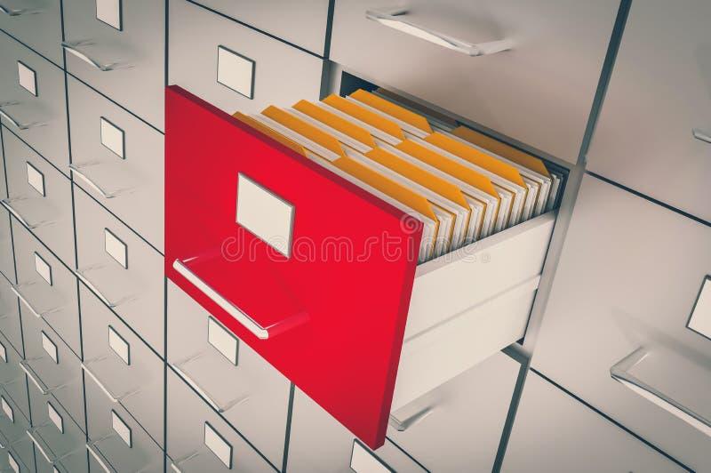 Abra el cajón del cabinete de archivo con los documentos dentro stock de ilustración