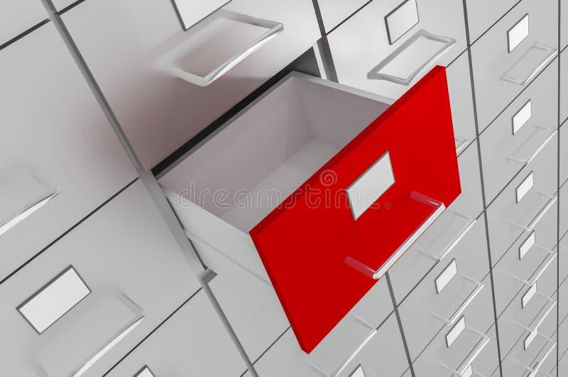 Abra el cajón vacío rojo del gabinete - concepto de la administración ilustración del vector