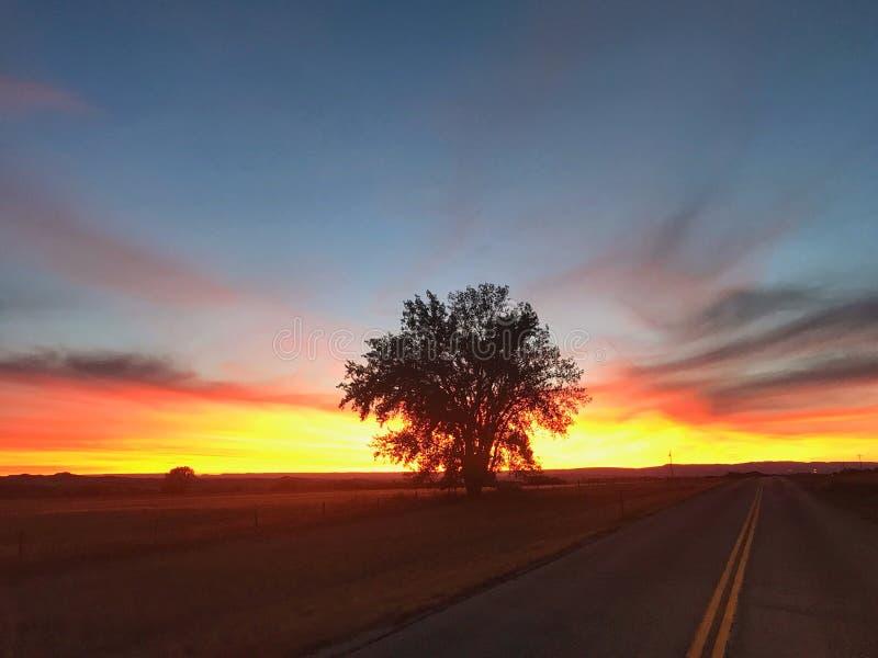 Abra el camino en la puesta del sol fotos de archivo