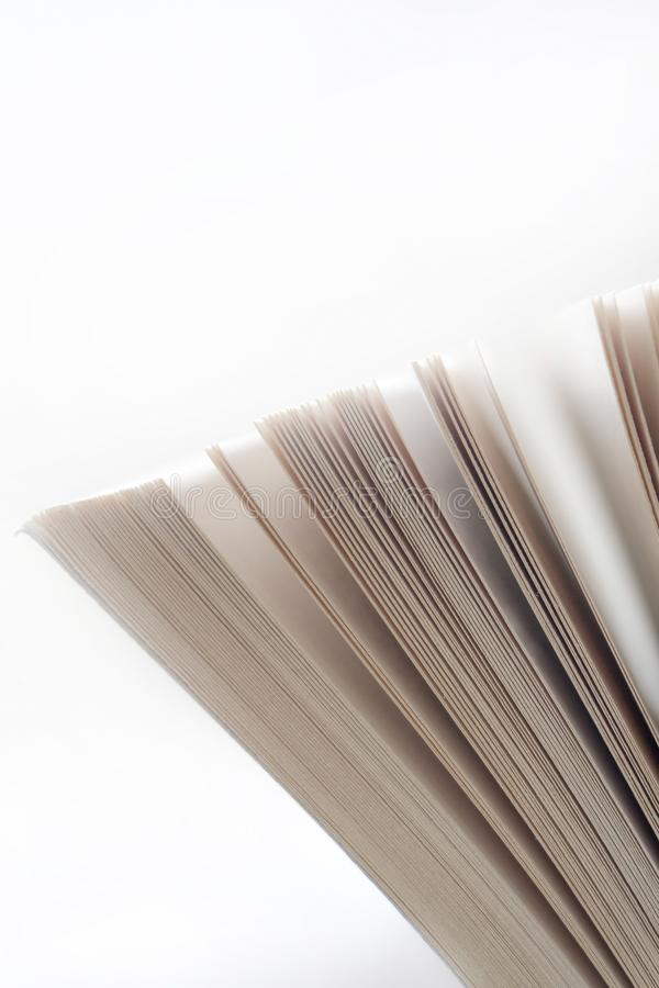Abra el cierre del libro viejo, página del libro foto de archivo