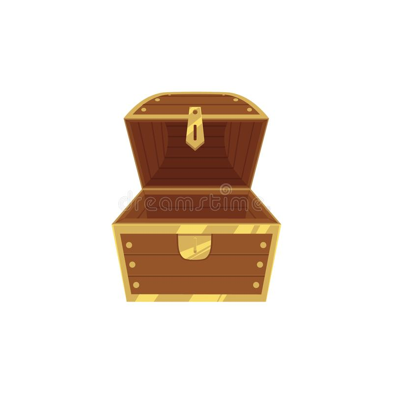 Abra el cofre del tesoro de madera vacío del pirata ilustración del vector