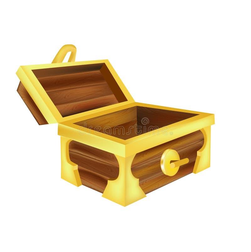 Abra el cofre del tesoro vacío aislado ilustración del vector