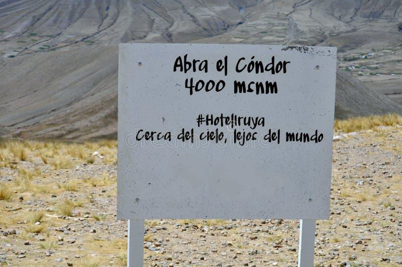 Abra el Condor in Salta-Provincie, Argentinië stock foto's