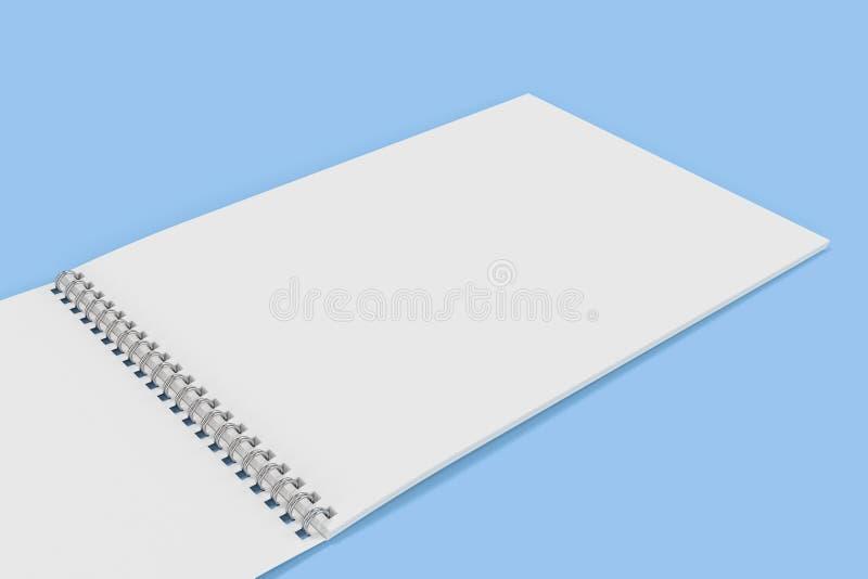 Abra el cuaderno blanco en blanco con espiral del metal - limite en fondo azul libre illustration
