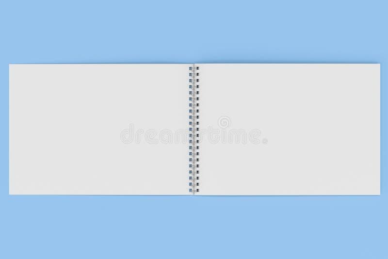 Abra el cuaderno blanco en blanco con espiral del metal - limite en fondo azul ilustración del vector