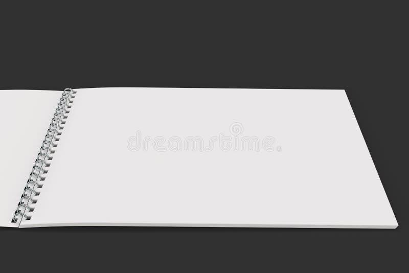 Abra el cuaderno blanco en blanco con espiral del metal - limite en fondo negro libre illustration