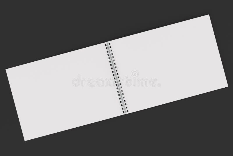 Abra el cuaderno blanco en blanco con espiral del metal - limite en fondo negro stock de ilustración
