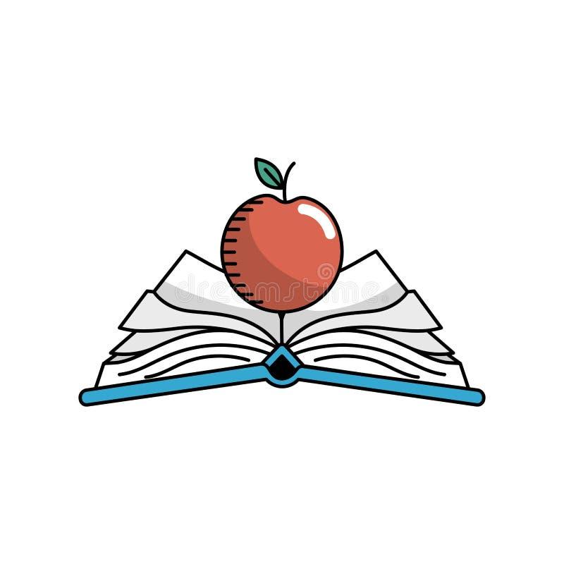 Abra el cuaderno con los papeles y la fruta de la manzana libre illustration
