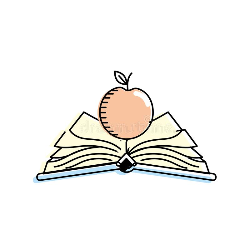 Abra el cuaderno con los papeles y la fruta de la manzana stock de ilustración