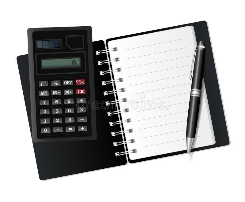 Abra el cuaderno, la calculadora y la pluma. stock de ilustración