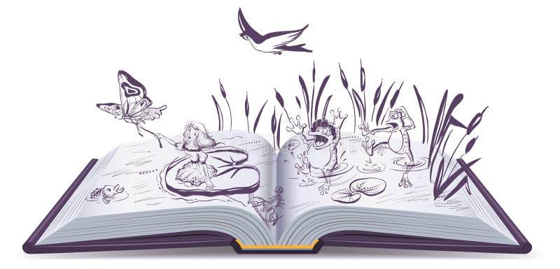 Abra el cuento Thumbelina del libro ilustración del vector