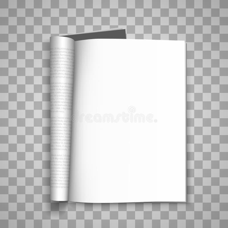 Abra el diario de papel, diario de papel, fondo transparente del magazin en blanco, elemento del diseño de la plantilla de la pág ilustración del vector