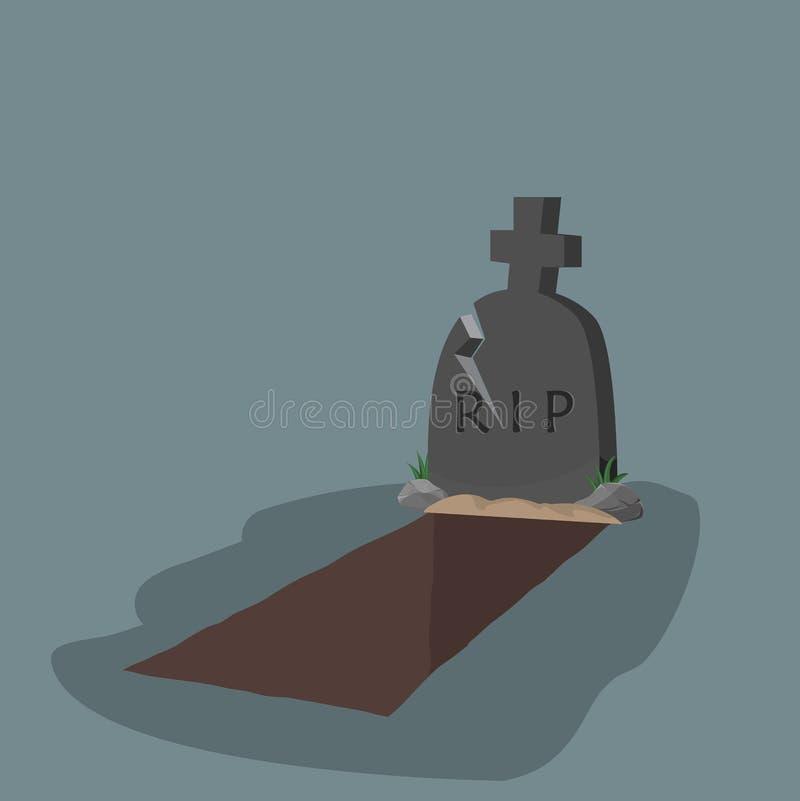 abra el diseño plano del sepulcro y de la lápida mortuoria stock de ilustración