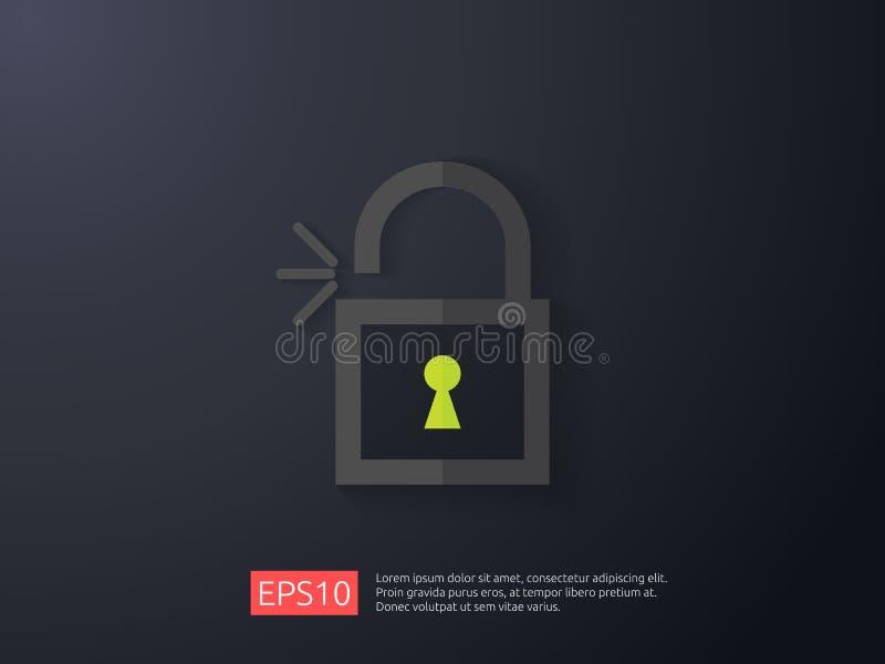 abra el ejemplo del icono del candado cierre el acceso que advierte concepto alerta de la seguridad seguro asegure del acceso per libre illustration