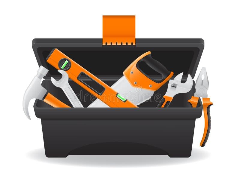 Abra el ejemplo plástico del vector de la caja de herramientas ilustración del vector