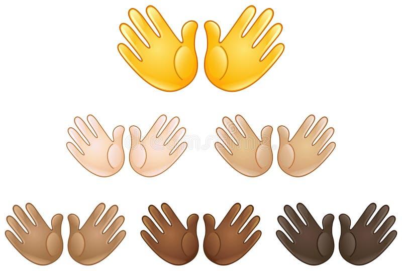 Abra el emoji de la muestra de las manos ilustración del vector
