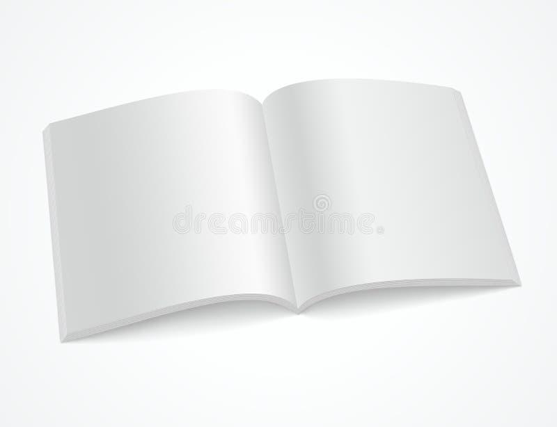 Abra el folleto o la revista en blanco en el fondo blanco ilustración del vector