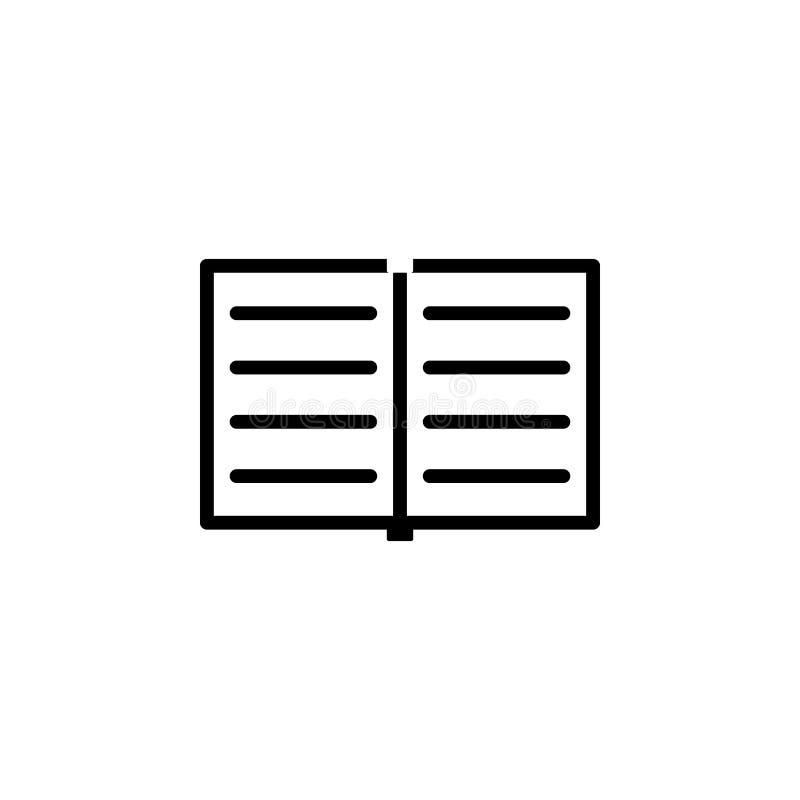abra el icono del cuaderno Elemento del icono simple para los sitios web, diseño web, app móvil, gráficos de la información Línea stock de ilustración
