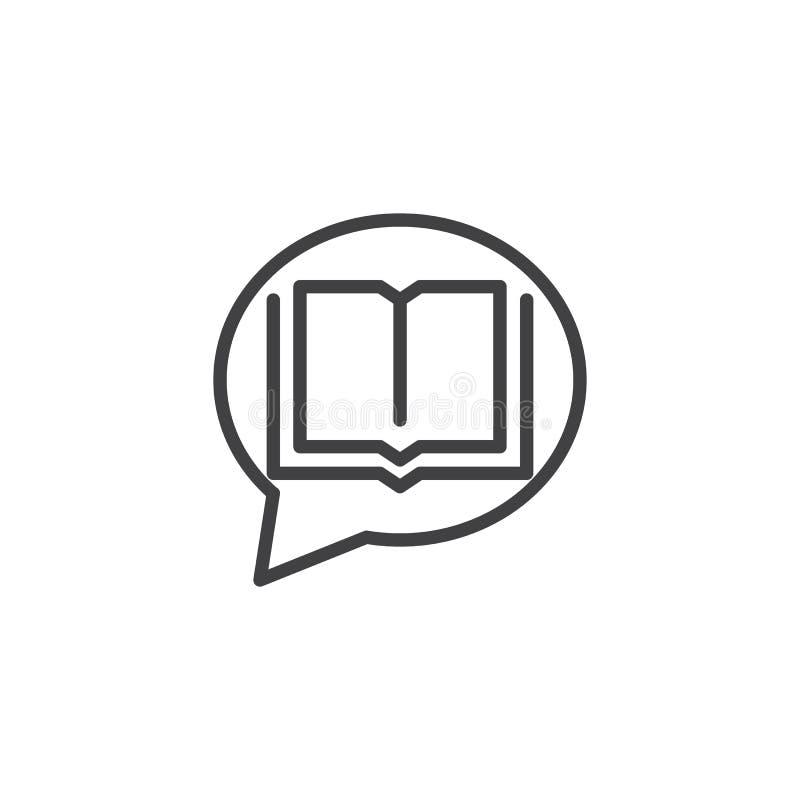 Abra el icono del esquema de la burbuja del libro y del discurso stock de ilustración